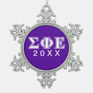 Sigma Phi Epsilon White and Purple Letters Snowflake Pewter Christmas Ornament