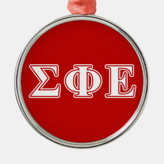 Sigma Phi Epsilon White and Red Letters Christmas Ornament