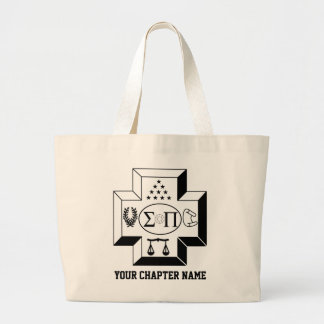 Sigma Pi Cross B+W Large Tote Bag
