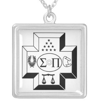 Sigma Pi Cross B+W Silver Plated Necklace