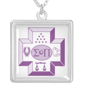 Sigma Pi Cross Color Silver Plated Necklace