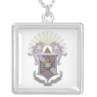 Sigma Pi Good Crest 4-C Silver Plated Necklace