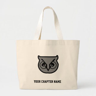 Sigma Pi Owl Gray Large Tote Bag