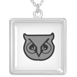 Sigma Pi Owl Gray Silver Plated Necklace