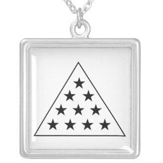 Sigma Pi Pyramid B+W Silver Plated Necklace