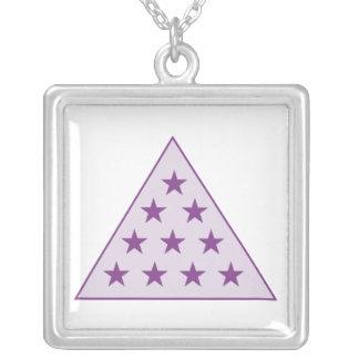 Sigma Pi Pyramid Purple Silver Plated Necklace