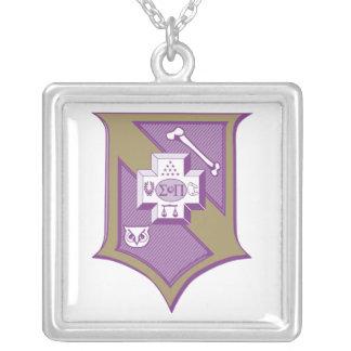 Sigma Pi Shield 2-Color Silver Plated Necklace
