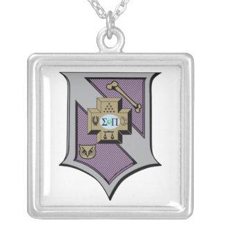 Sigma Pi Shield 4-Color Silver Plated Necklace