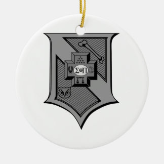 Sigma Pi Shield Grayscale Christmas Ornament