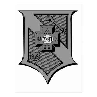 Sigma Pi Shield Grayscale Postcard