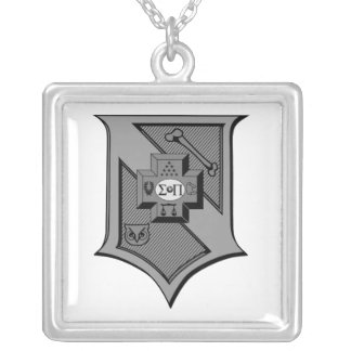 Sigma Pi Shield Grayscale Silver Plated Necklace