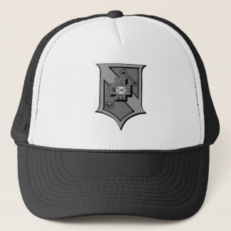Sigma Pi Shield Grayscale Trucker Hat