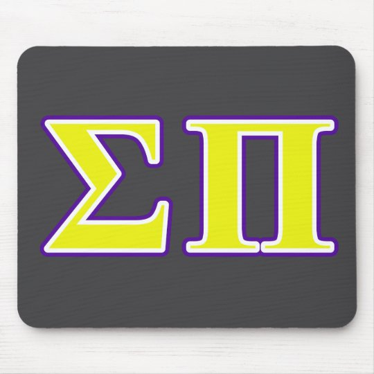 Sigma Pi Yellow and Purple Letters Mouse Mat