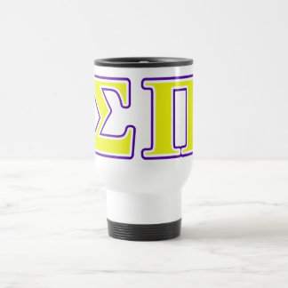Sigma Pi Yellow and Purple Letters Travel Mug