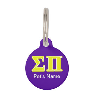 Sigma Pi Yellow Letters Pet Tag