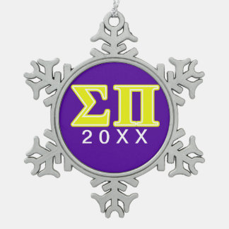 Sigma Pi Yellow Letters Snowflake Pewter Christmas Ornament