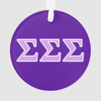 Sigma Sigma Sigma Lavender Letters Ornament