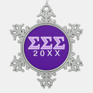 Sigma Sigma Sigma Lavender Letters Snowflake Pewter Christmas Ornament