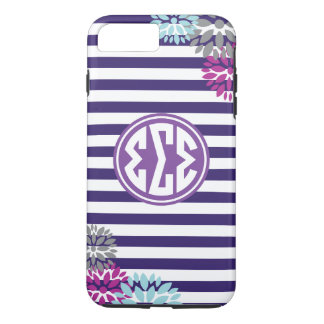 Sigma Sigma Sigma | Monogram Stripe Pattern iPhone 8 Plus/7 Plus Case