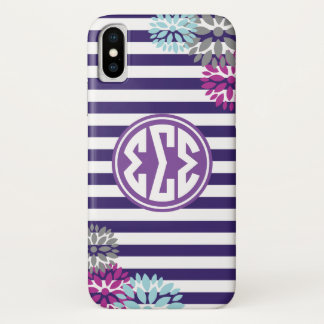Sigma Sigma Sigma | Monogram Stripe Pattern iPhone X Case