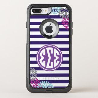 Sigma Sigma Sigma | Monogram Stripe Pattern OtterBox Commuter iPhone 8 Plus/7 Plus Case