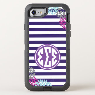 Sigma Sigma Sigma | Monogram Stripe Pattern OtterBox Defender iPhone 8/7 Case
