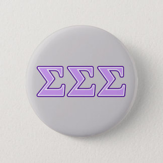 Sigma Sigma Sigma Purple and Lavender Letters 6 Cm Round Badge