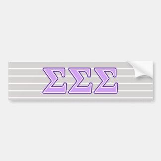 Sigma Sigma Sigma Purple and Lavender Letters Bumper Sticker