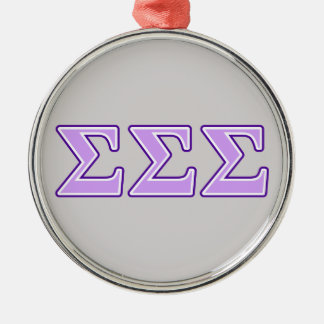 Sigma Sigma Sigma Purple and Lavender Letters Christmas Ornament