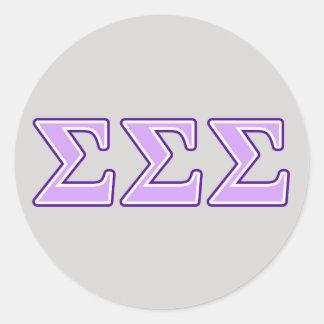 Sigma Sigma Sigma Purple and Lavender Letters Classic Round Sticker