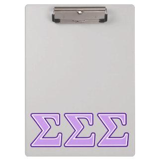 Sigma Sigma Sigma Purple and Lavender Letters Clipboard