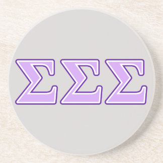 Sigma Sigma Sigma Purple and Lavender Letters Coaster