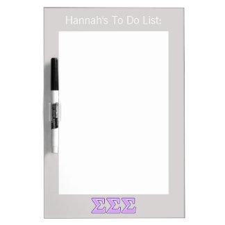 Sigma Sigma Sigma Purple and Lavender Letters Dry Erase Board