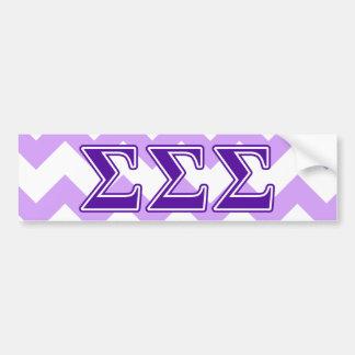 Sigma Sigma Sigma Purple Letters Bumper Sticker