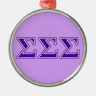 Sigma Sigma Sigma Purple Letters Christmas Ornament