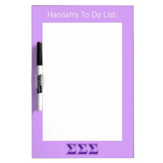 Sigma Sigma Sigma Purple Letters Dry Erase Board