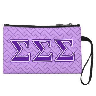 Sigma Sigma Sigma Purple Letters Wristlet Clutch