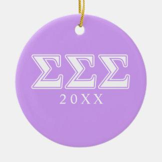 Sigma Sigma Sigma White Letters Christmas Ornament