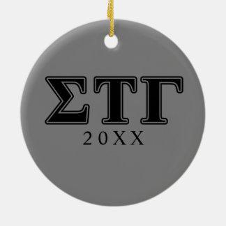 Sigma Tau Gamma Black Letters Christmas Ornament