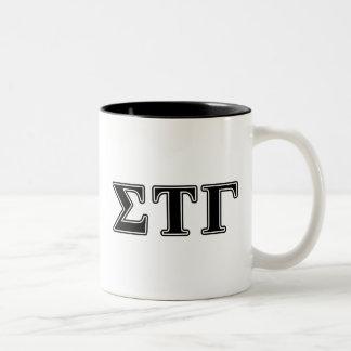 Sigma Tau Gamma Black Letters Two-Tone Coffee Mug