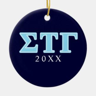 Sigma Tau Gamma Blue Letters Christmas Ornament