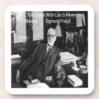 Sigmund Freud In His Office & Funny Cat Quote Beverage Coaster