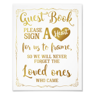 sign a heart guest book wedding sign gold art photo