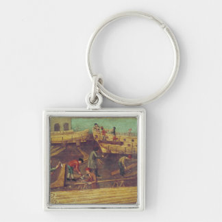 Sign for the Marangoni Family of shipbuilders Silver-Colored Square Key Ring