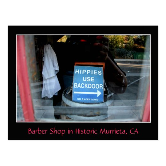 Sign in Barber-Shop Window, Murrieta, CA Postcard
