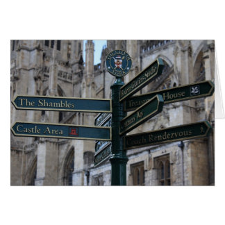 Sign in front of York Minster - York, England Card