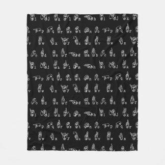 Sign Language Alphabet // White on Black // Fleece Blanket