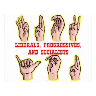 Sign Language For-To Liberals Progressives Sociali Postcard