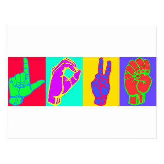 Sign Language LOVE Andy Warhol Postcards