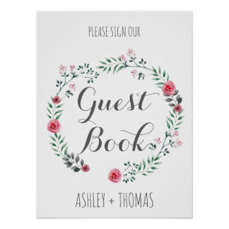 Sign our GUEST BOOK floral calligraphy sign